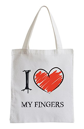 I Love My Fingers Fun sacchetto di iuta