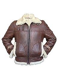 Men's Aviator RAF B3 Sheepskin Fur Shearling Bomber Flying Black & Brown Leather Jacket