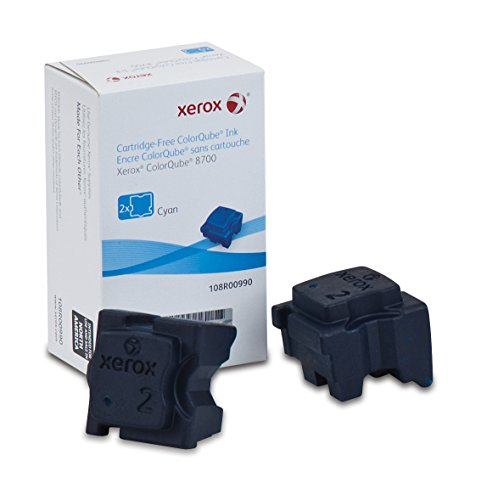 (Genuine Xerox Cyan Solid Ink Sticks for the Xerox ColorQube 8700 (2 pcs/Box), 108R00990)