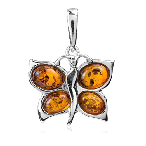 Honey Amber Sterling Silver Butterfly Pendant
