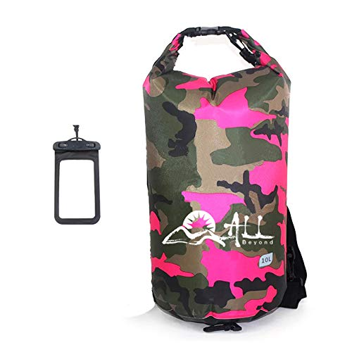 ALLBEYOND 210T 10L/20L Polyester PVC Waterproof Dry Bag Roll Top Sack Keeps Gear Dry for Kayaking/Camping/Fishing/Snowboarding/Canoeing/Hiking with Waterproof Phone Case (Pink Camouflage, 10L)