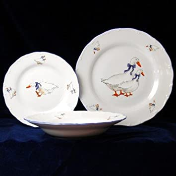Plate set for 6 pers. Czech porcelain Geese & Amazon.com: Plate set for 6 pers. Czech porcelain Geese: Kitchen ...