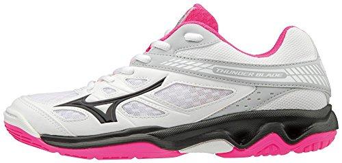 Mizuno Thunder Blade, Zapatillas para Mujer Multicolor (White/Black/Pink Glo 001)