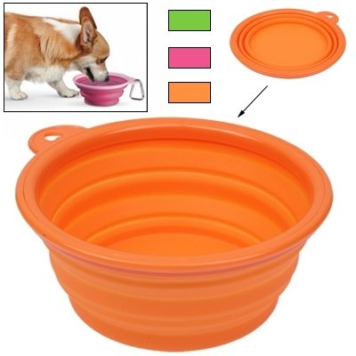 Pet Supplies Portable Stretchable Silicon Food Feeder Dish Serving Bowl Water Container for Cat Dog Pets
