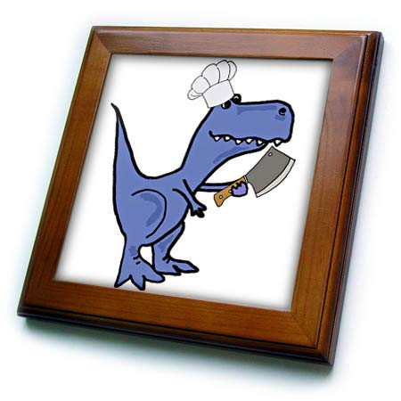 3dRose All Smiles Art Sports and Hobbies - Funny T-rex Dinosaur in Chefs Hat with Meat Cleaver Cooking - 8x8 Framed Tile (ft_288015_1)
