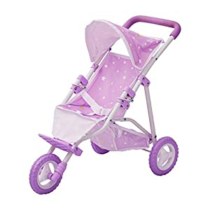 Olivia's Little World – Twinkle Stars Princess Baby Doll Jogging Stroller, fits Dolls up to 18 inches, Purple/White