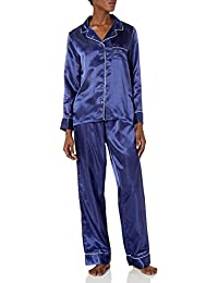 Amazon Brand - Mae Women's Satin Notch Collar Pajama Set