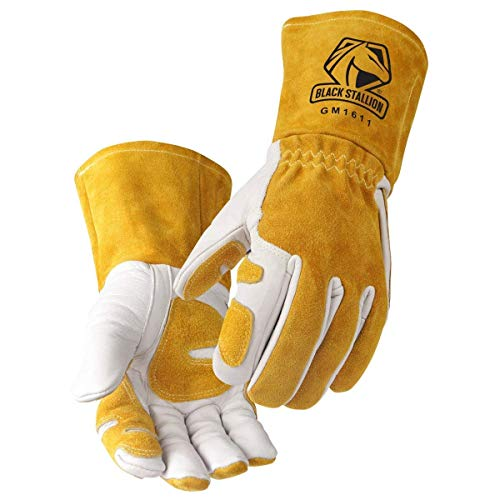 - Revco GM1611 Top Grain Leather Cowhide MIG Welding Gloves with Reinforced Palm & Thumb and Index Finger, Seamless Forefinger, 5