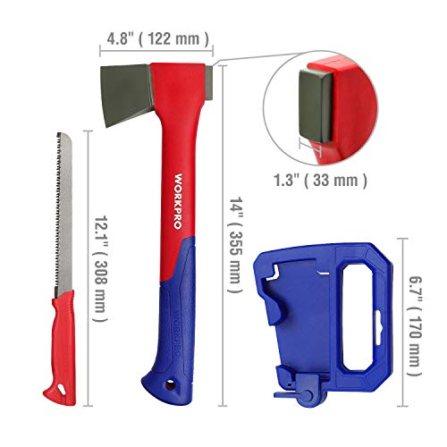 WORKPRO Camping Axe Saw Combo Kit - 14-inch Splitting Hatchet with Hand Saw Storaged in Handle, Molded Sheath Included by WORKPRO (Image #1)