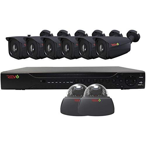 Revo America AeroHD 16Ch. 5MP DVR, 2TB HDD Video Security System, 6 x 5 MP IR Bullet Cameras, 2 x 5 MP IR Dome Cameras Indoor/Outdoor - Remote Access via Smart Phone, Tablet, PC & MAC -  RA163VD2IB6I-2TA