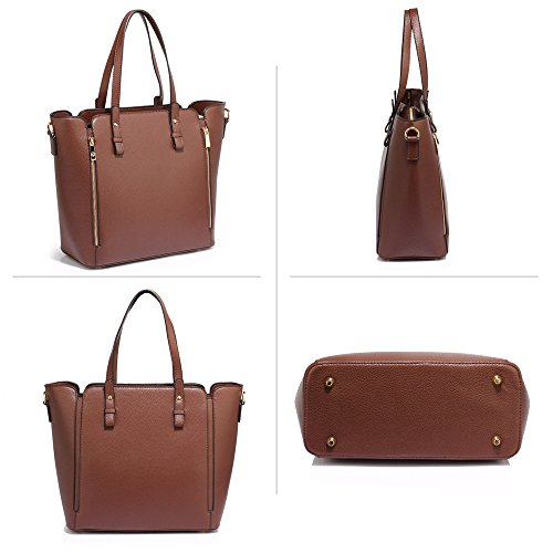 1 Look Gorgeous Handbag Handbag Shoulder New Bag Designer Design Faux Style Women Design Leather Zipper For Front Large Ladies Coffee Unique pA1Hqw7wx