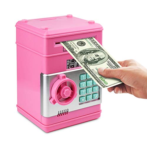 (Setibre Piggy Bank, Electronic ATM Password Cash Coin Can Auto Scroll Paper Money Saving Box Toy Gift for Kids)