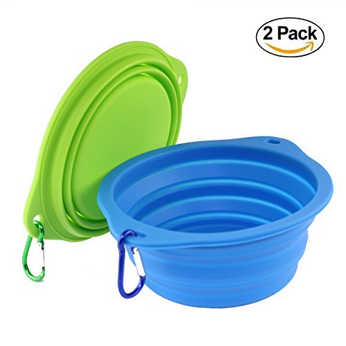 wangstar Large Collapsible Dog Bowl for Dog Food, Food Grade Silicone Bpa Free Bowls, Foldable Pet Feeder Cup Dish Travel Bowl Portable Dog Water Bowl with Free Carabiners, 2 Piece, 7.2 Inch