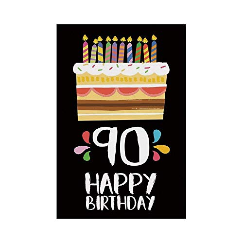Polyester Garden Flag Outdoor Flag House Flag Banner,90th Birthday Decorations,Colorful Party Set Up on Black Background Cake Candles Artistic,Multicolor,for Wedding Anniversary Home Outdoor Garden De