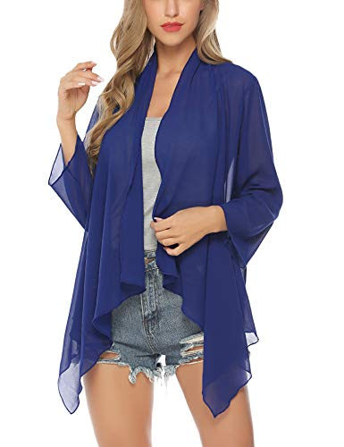 Aibrou Womens Sheer Kimono Summer Navy Blue Open Front Cardigans for Women ()
