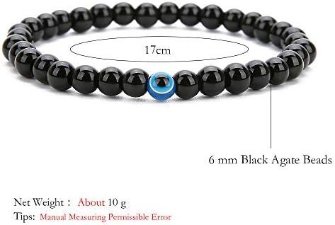 BALIBALI 2Pcs Set Handmade Elastic 6mm Black Agate Beads Bracelet Natural Stone Evil Eye Hamsa Fatima Hand Charm Beaded Couples Bracelets Kabbalah Bracelet