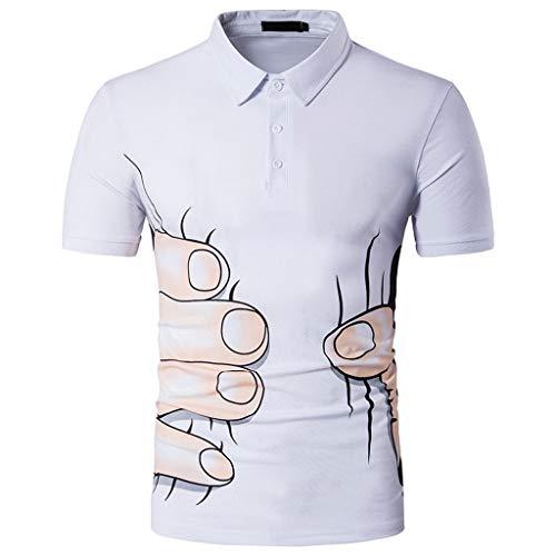 (NEARTIME Men's 3D Printing Tee, Men Casual Summer Print Button T-Shirt Short Sleeve Turn-Down Collar Top Slim Blouse)