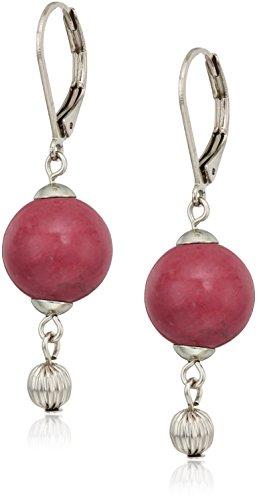 1928 jewelry silver tone genuine semi precious gemstone maroon howlite round drop earrings