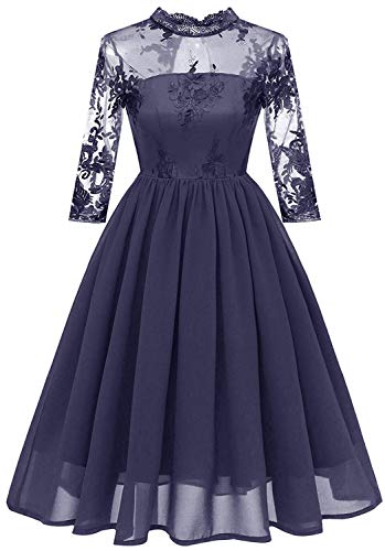 Women Vintage Lace Chiffon Wedding Party Bridesmaid Dress F09 (Navy Blue, M)