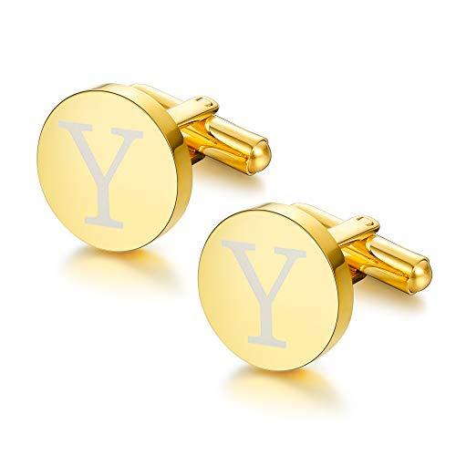 ORAZIO Gold Tone Initial Cufflinks for Men Women Alphabet Letter Y Cufflinks