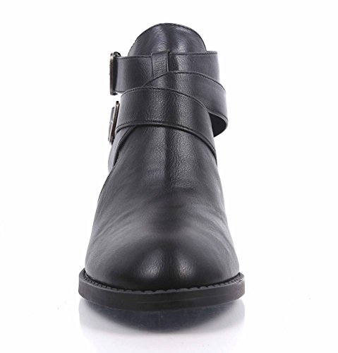 Sexy Fashion Faux Leather Ankle High Booties Zip Open Cuban Heels Womens Boots Black RmmW3