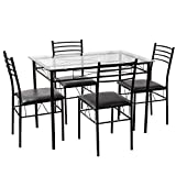 TANGKULA Dining Table Set 5 Piece Home Kitchen Dining Room Tempered Glass Top Table Chairs Breaksfast Furniture (Black 002)