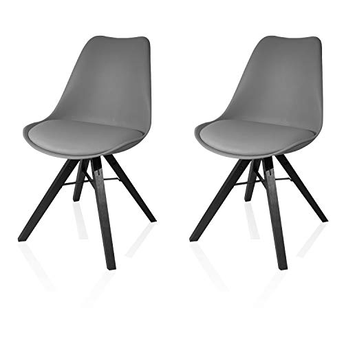 Heyesk Dining Room Chair Set of 2 Mid Century Modern Kitchen Chairs,Upholstered Seat(Grey, 2)