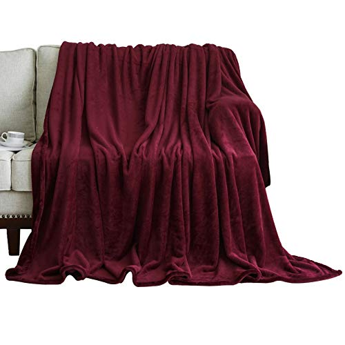 (WONTEX Flannel Fleece Throw Blanket Super Soft Lightweight for Couch, Burgundy, 50 x 60 inch)