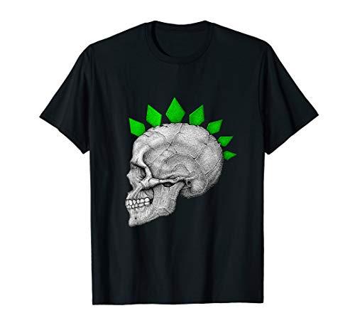 Halloween Skull Skeleton Head Green Mohawk Spikes T Shirt