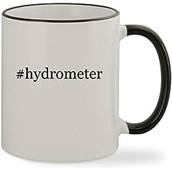 #hydrometer - 11oz Hashtag Colored Rim & Handle Sturdy Ceramic Coffee Cup Mug, Black