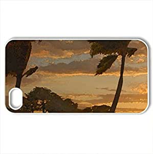 Amazing Sunset on Maui Tropical Island Hawaii - Case Cover for iPhone 4 and 4s (Beaches Series, Watercolor style, White)