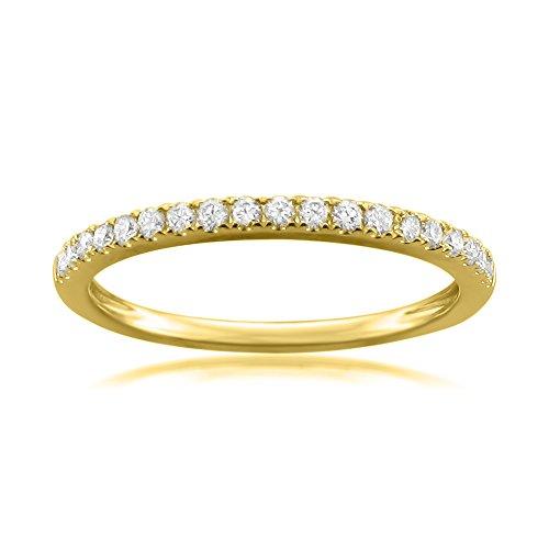 14k Yellow Gold Round Diamond Micro-Pave Bridal Wedding Band Ring (1/4 cttw, H-I, VS2-SI1), Size
