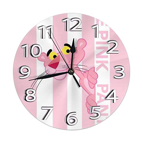 (YZMZB Silent Non Ticking Decorative Round Wall Clock, The Pink Panther Chic Style, Arabic Numerals Home Wall)