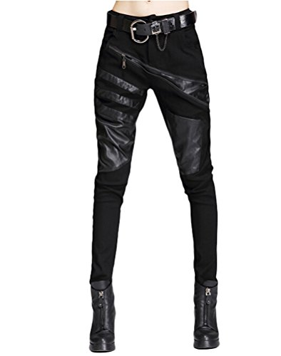 Minibee Women's Patchwork Leather Personalized Trousers Punk Style Black (Gothic Leather Clothing)