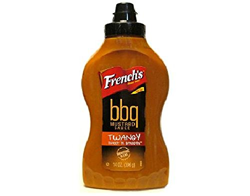 French's, BBQ Mustard Sauce, Twangy, Sweet 'n Smooth, 14oz Squeeze Bottle (Pack of 2) (Sweet Mustard Sauce)