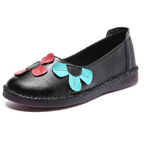Btrada Kvinna Vintage Blommor Loafers Mjuk Rund Tå Driv Mockasiner Tillfällig Våren Platt Båt Skor Svarta