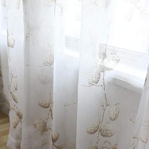 eTRY Coffee Cartoon Pinecone Sheer Curtains Voile Tulle Window Drapes Curtains for Kids Living Bedroom Rod Pocket 52 x 63 Inch 1 Panel