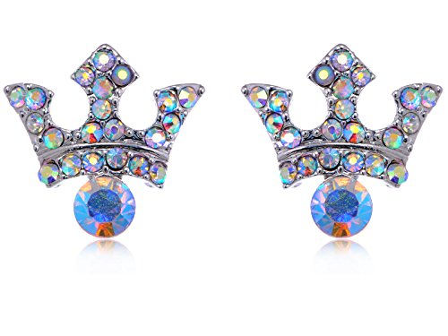 Aurora Borealis Crystal Rhinestone Byzantine Royalty King Crown Stud Earrings