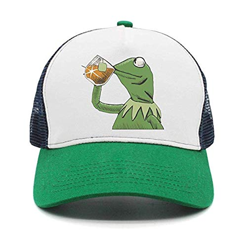 Mens funny-green-frog-sipping-tea wool Hip-hop hat cap womens