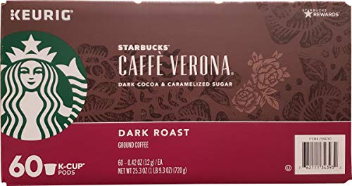 Starbucks Cafe Verona Roast K Cup Pods, Dark Cocoa And Caramelized Sugar, 25.3 Ounce ()