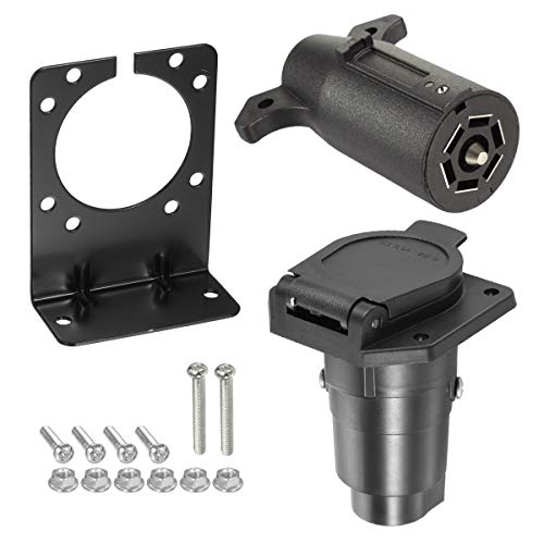 Partsam 7-Way Trailer Blade Connector 7 Pole Connector Vehicle Socket with Mounting Bracket Kits