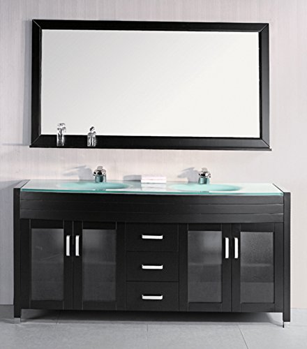 Design Element Waterfall Double Drop-in Integrated Tempered Glass Sink and Countertop Vanity Set with Espresso Finish, 72-Inch - Oval Hardwood Base