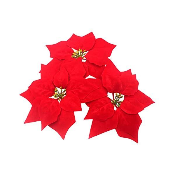 M2cbridge 50pcs Artificial Christmas Flowers Red Poinsettia Christmas Tree Ornaments Dia 8 Inches