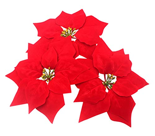 M2cbridge Pack of 24 Artificial Christmas Flowers Red Poinsettia Christmas Tree Ornaments Dia 8 Inch 2 Dozen