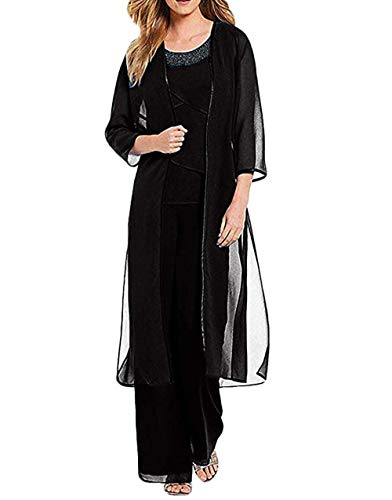 LoveeToo Women's Beaded Ruffles Mother of The Bride Dress with Long Sleeves Chiffon Wedding Outfit 3 Pieces Pants Suit(16, Black) (Beaded 3 Piece Pant)