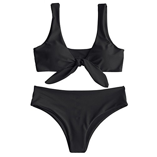 KENANCY Women Front Knot Padded Bikini Set Sexy Strap Swimsuit (Black, Small)
