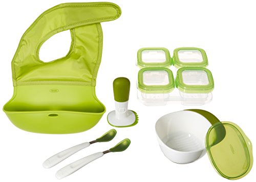 OXO Tot Mealtime Starter Value Set with Roll-up Bib, Feeding Spoons, Food Masher and Four 4oz Baby Blocks Freezer Storage...