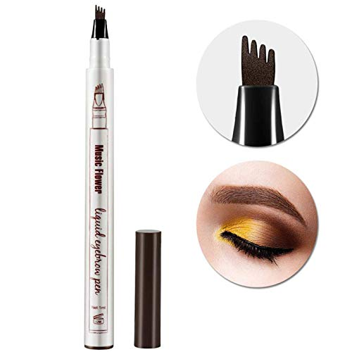Tattoo Eyebrow Pen Waterproof Ink Gel Tint with Four Tips, Long Lasting Smudge-Proof Natural Hair-Like Defined Brows All Day (Chestnut) ()