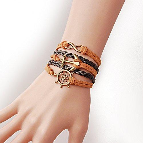 Wandafull Eternal Anchor Rudder Leather Cuff Bracelet Diy Handmade