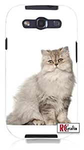 Happy Persian Kitty Cat with Attitude Unique Quality Soft Rubber PC Case for Samsung Galaxy S4 I9500 - White Case